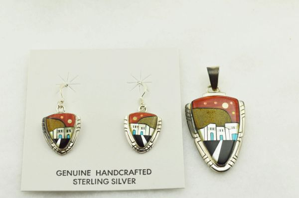 Sterling silver multi color inlay arrowhead shaped adobe style earrings and pendant set. S293