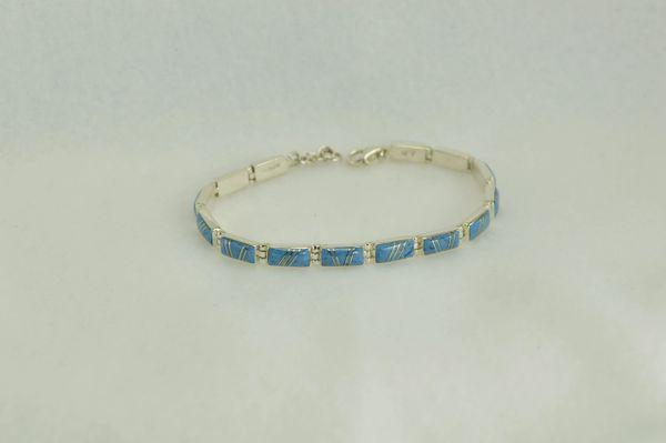 "Sterling silver denim lapis inlay rectangle 7.5 "" link bracelet.  B015"