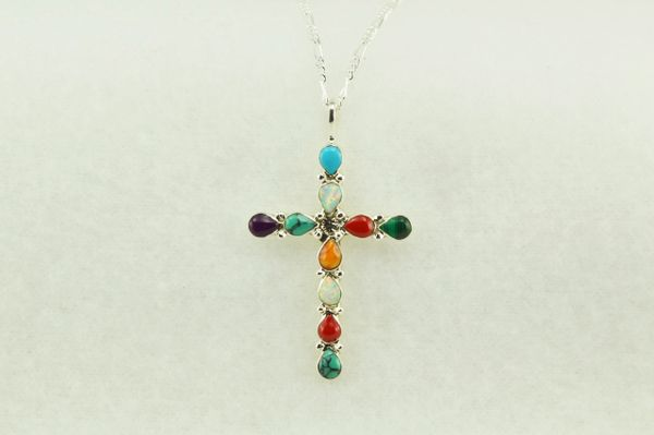 "Sterling silver multi color cross pendant with sterling silver 18"" figaro chain. N190"
