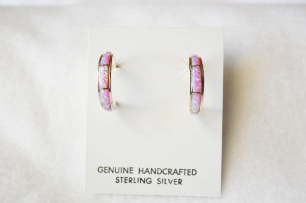 Sterling silver pink opal inlay medium tapered hoop post earrings. E249
