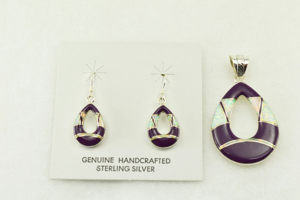 Sterling silver sugilite and white opal inlay hollow raindrop earrings and pendant set. S203