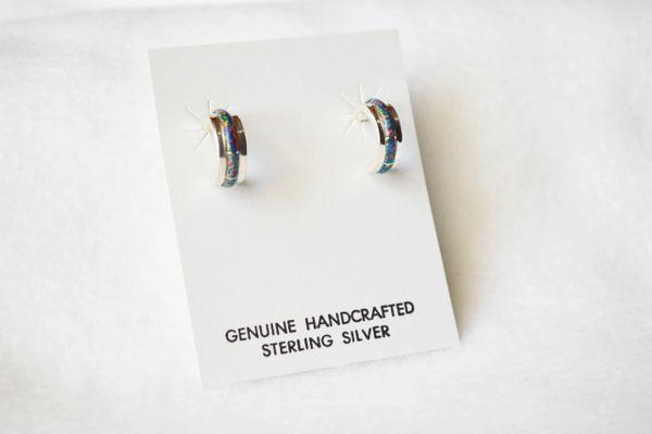 Sterling silver black opal inlay small hoop post earrings. E235