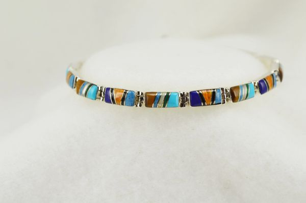 "Sterling silver multi color rectangle inlay link 7.5"" bracelet. B117"