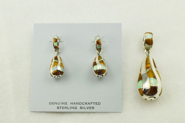 Sterling silver white opal and tiger eye inlay twisty bulb shaped earrings and pendant set. S234
