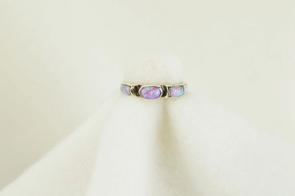 Sterling silver pink opal inlay ring. R100