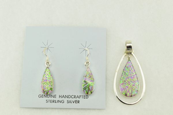 Sterling silver pink opal inlay teardrop earrings and pendant set. S181