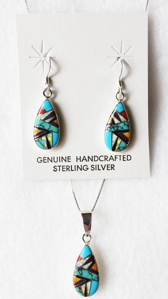"""Sterling silver multi color inlay teardrop dangle earrings and 18"""" sterling silver box chain necklace set. S004"""