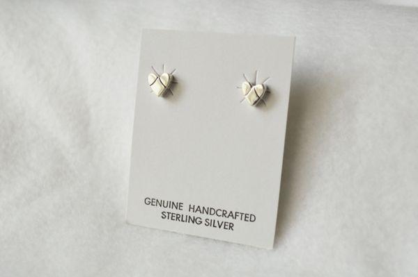 Sterling silver heart post earrings (E006)