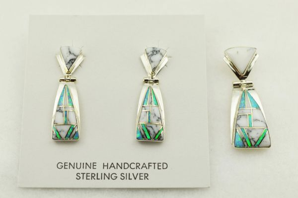 Sterling silver blue opal and howlite inlay triangle earrings and pendant set. S305