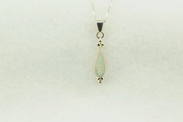 "Sterling silver white opal corn cob shaped pendant with sterling silver 18"" figaro chain. N236"