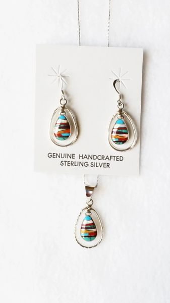"""Sterling silver multi color inlay egg shape in hoop dangle earrings and 18"""" sterling silver box chain necklace set. S091"""
