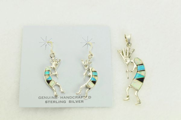 Sterling silver white opal, blue opal and black onyx inlay kokopelli dangle earrings and pendant set. S333