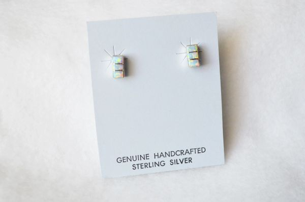 Sterling silver white opal inlay rectangle post earrings. E197