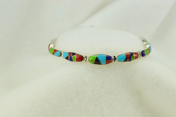 "Sterling silver multi color inlay link 7.5"" bracelet. B123"