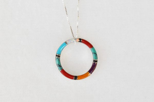"Sterling silver multi color inlay hoop pendant with sterling silver 18"" box chain. N027"