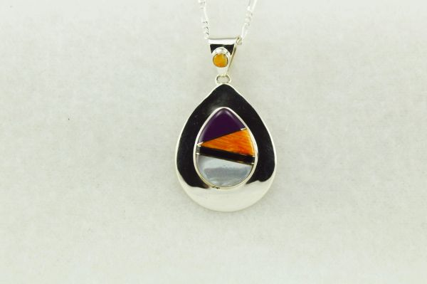 """Sterling silver multi color inlay raindrop pendant with sterling silver 18"""" figaro chain. N156"""