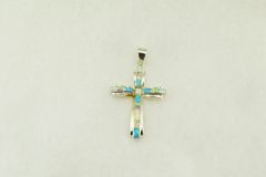 Sterling silver white, blue and pink opal inlay cross pendant. P002