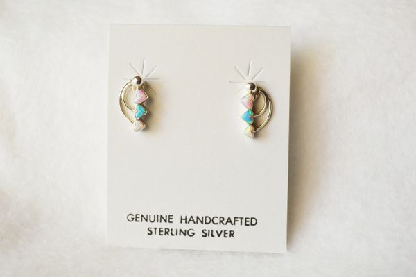 Sterling silver blue, pink and white opal triple heart post earrings. E145
