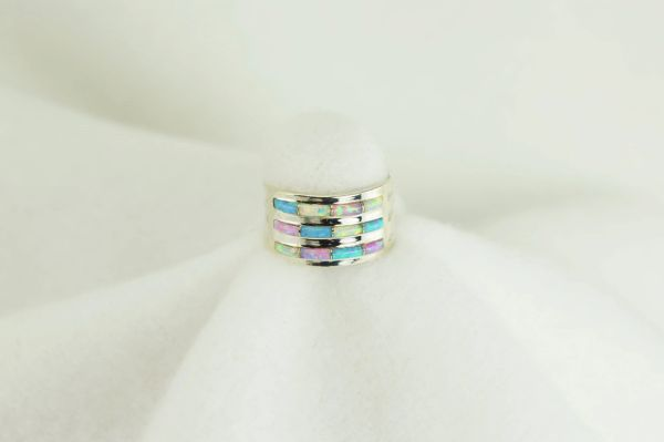 Sterling silver blue opal, pink opal and white opal inlay ring. R016