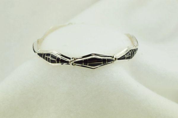 "Sterling silver black onyx inlay link 7.25"" bracelet. B072"