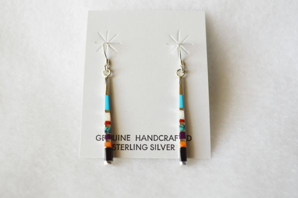 Sterling silver multi color inlay stick earrings. E100
