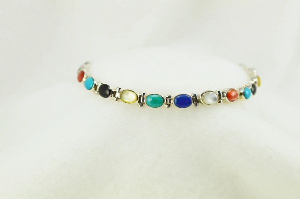 "Sterling silver multi color oval link 7.25"" bracelet. B120"