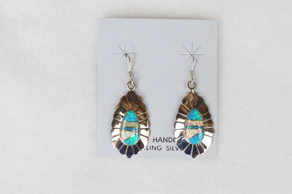 Sterling silver blue, white and pink opal inlay oval dangle earrings. E132