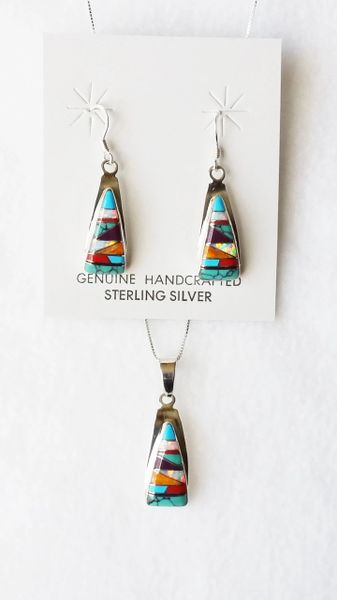 """Sterling silver multi color inlay (horizontal) triangle dangle earrings and 18"""" sterling silver box chain necklace set. S110"""