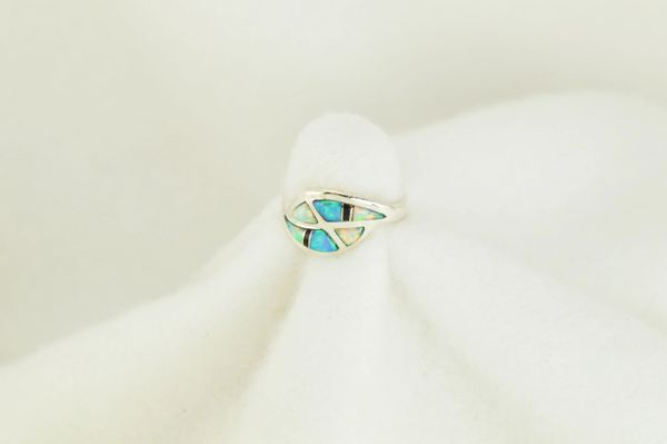 Sterling silver white opal, blue opal and black onyx inlay ring. R115