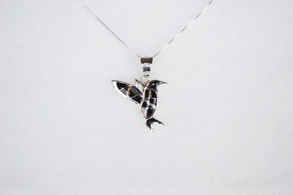 """Sterling silver black onyx inlay hummingbird pendant with sterling silver 18"""" box chain. N102."""