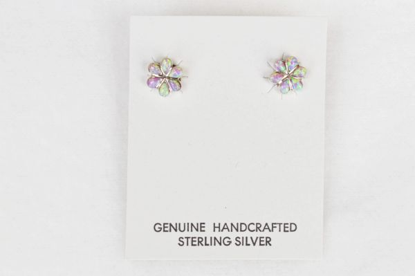 Sterling silver pink opal flower post earrings (E021)