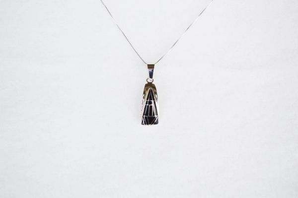 """Sterling silver black onyx inlay triangle pendant with sterling silver 18"""" box chain. N101."""