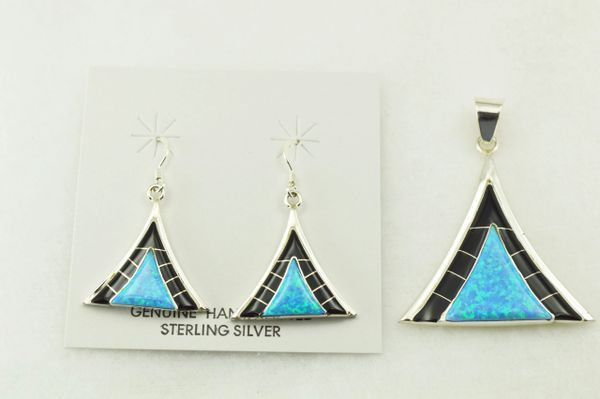 Sterling silver black onyx and blue opal inlay triangle earrings and pendant set. S220