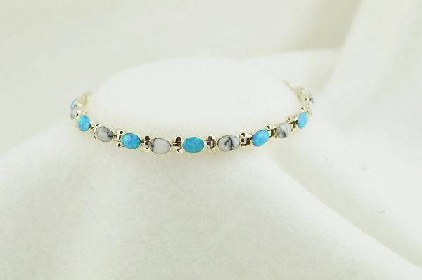 "Sterling silver howlite and blue opal inlay link 8"" bracelet. B056"