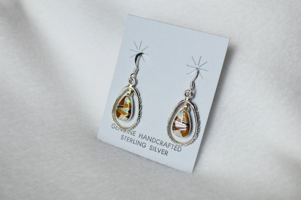 Sterling silver multi colored egg shape in silver oval dangle earrings. (E070)