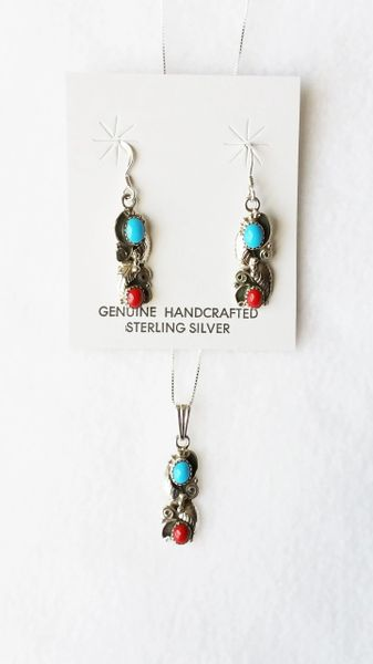 "Sterling silver turquoise and coral dangle earrings and 18"" sterling silver box chain necklace set. S109"