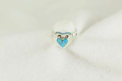Sterling silver blue opal inlay ring. R231