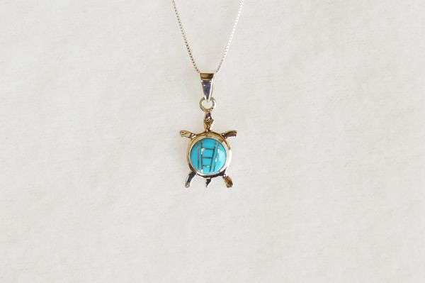 """Sterling silver turquoise inlay turtle pendant with sterling silver 18"""" box chain. N004"""