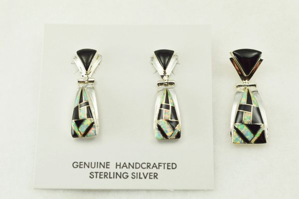 Sterling silver black onyx and white opal inlay candy corn shaped earrings and pendant set. S215