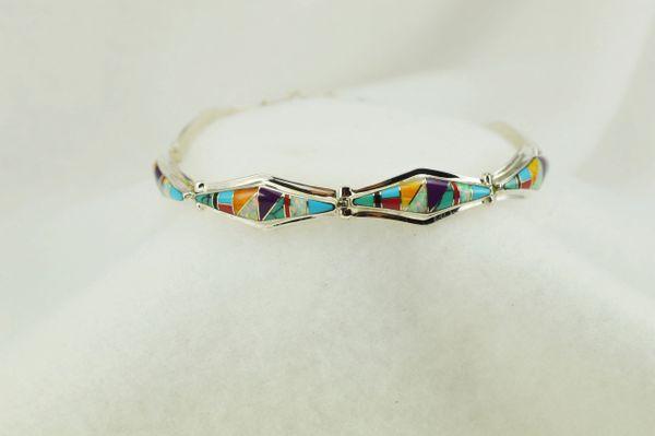"Sterling silver multi color inlay link 7.25."" bracelet. B105"
