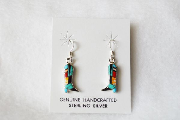 Sterling silver inlay multi color boot dangle earrings. E089