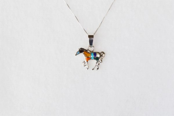 """Sterling silver multi color horse inlay pendant with sterling silver 18"""" box chain. N019"""