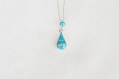 "Sterling silver turquoise inlay teardrop pendant with sterling silver 18"" box chain. N081."