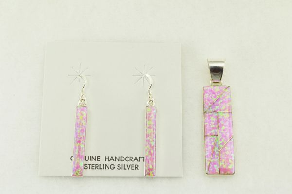 Sterling silver pink opal inlay rectangle earrings and pendant set. S182