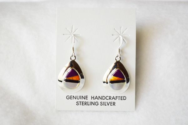 Sterling silver multi color inlay medium teardrop dangle earrings. E210