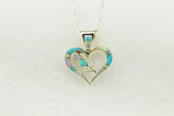 "Sterling silver pink, white and blue opal inlay heart pendant with sterling silver 18"" figaro chain. N246"