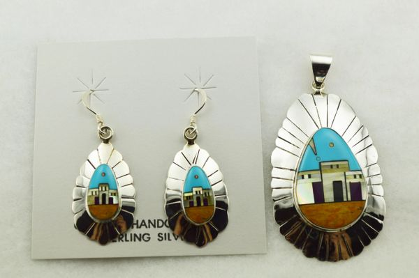 Sterling silver multi color inlay adobe style earrings and pendant set. S279