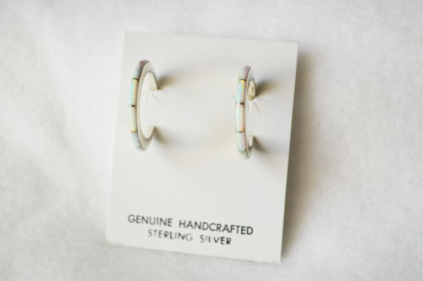 Sterling silver white opal inlay large/thin hoop post earrings. E259