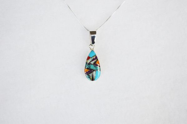 "Sterling silver multi color inlay teardrop pendant with sterling silver 18"" box chain. N114."