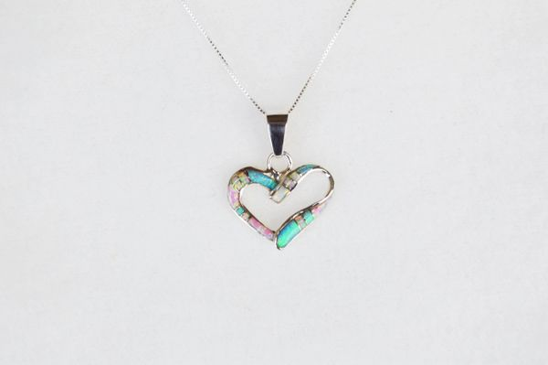 "Sterling silver white pink and blue opal inlay heart pendant with sterling silver 18"" box chain. N124."